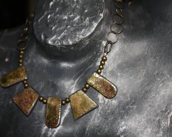 Raku green bronze necklace
