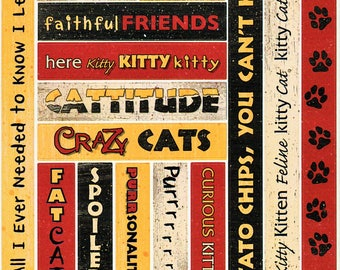 Cat Titles Tags Borders Bo Bunny  Cardstock Scrapbook Stickers Embellishments Card Making