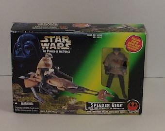 1996 Star Wars Power of the Force Speeder Bike with Luke Skywalker in Endor Gear Figure | New in Original Box