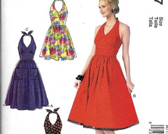 McCall's M7157 Misses Halter Dresses Sewing Pattern Vintage 70s Style UNCUT 7157 Size 6, 8, 10, 12, 14