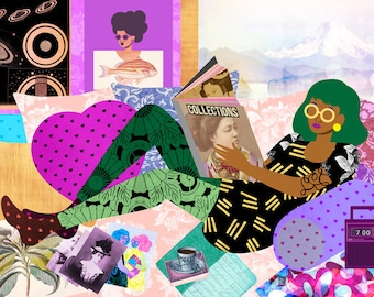Lazy Sunday Art Print, Cottage Home Illustration, Retro Bedroom Illustration, African American Wall Art, Colorful Collage Art
