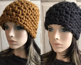Warm Winter Hat in Bronze or Dark Charcoal Women's Hat Thick Crochet Hat