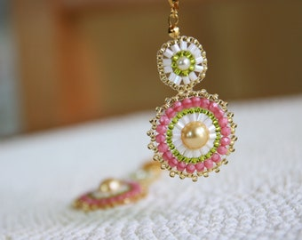 Pearl Series – Bead Woven Earrings in Pink