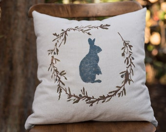 Vintage Spring Bunny Pillow Cover
