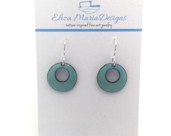 Teal Earrings, Teal Enamel Earrings, Handmade Earrings, Kiln Fired Enamel Earrings, Glass Earrings, Glass Jewelry