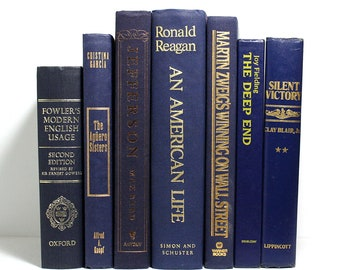 Navy Blue Books, Bundle of 7 Hardcover Books, Reagan, Jefferson, Published 1965 to 1997, Office Decor, Floating Books, Home Staging