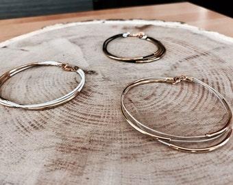 Multiple strand leather gold bracelet