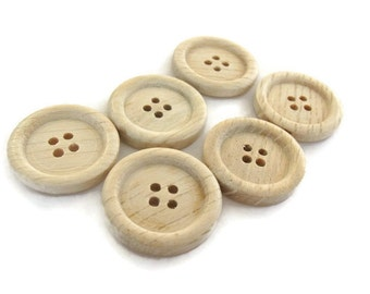 Natural wood button set of 6 craft button 23mm  (BB119D)