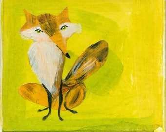 Proud Fox // Mixed Media // Acrylic Painting Repurposed Book Collage