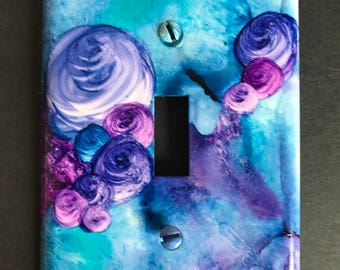 Purple & Turquoise Jewel-tone Switch Plate, Abstract w/ Roses -HandpaintedWall Art Decor