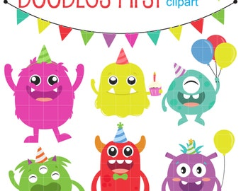 Monster Birthday Bash Digital Clip Art for Scrapbooking Card Making Cupcake Toppers Paper Crafts