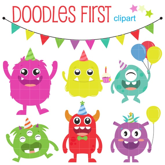 Monster Birthday Bash Digital Clip Art For Scrapbooking Card