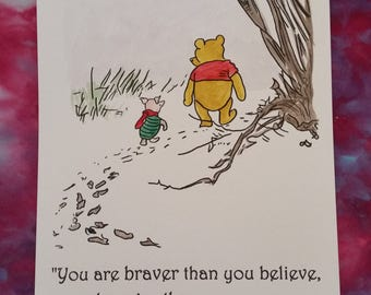 A4 Winnie the Pooh Quote and Watercolour Painting  Hand Painted Piglet and Pooh Walking in the Snow A. A. Milne