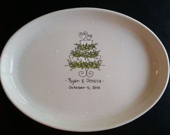 "Hand Painted 16"" Oval Ceramic Wedding Platter - Great gift for a wedding or Bridal Shower"