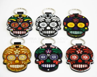 A set of trinkets | key chain for bag | Keyring | Day of the Dead | Dia de Muertos Keychain | Mexican skull | Leather Black Sugar Skull |