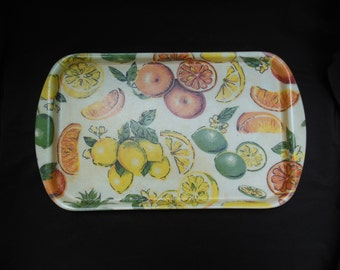 Rexilite Fiberglass Serving Tray with Citrus Fruits Lemons Limes and Oranges on Unbreakable Tray