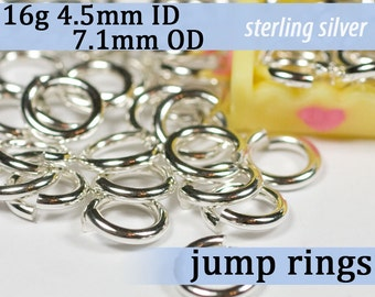 16g 4.5mm ID 7.1mm OD sterling silver -- .925 jump rings 16g4.50 open jumprings links