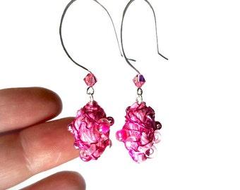 Hot Pink Drop Earrings, Hot Pink Earrings,  Bead Dangle Earrings,  Fiber Art, Art Jewelry, Artsy Gifts, Handmade Artisan Upcycled Jewelry