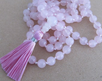 Rose quartz mala - Hand knotted 8mm rose quartz 108 beads buddhist mala