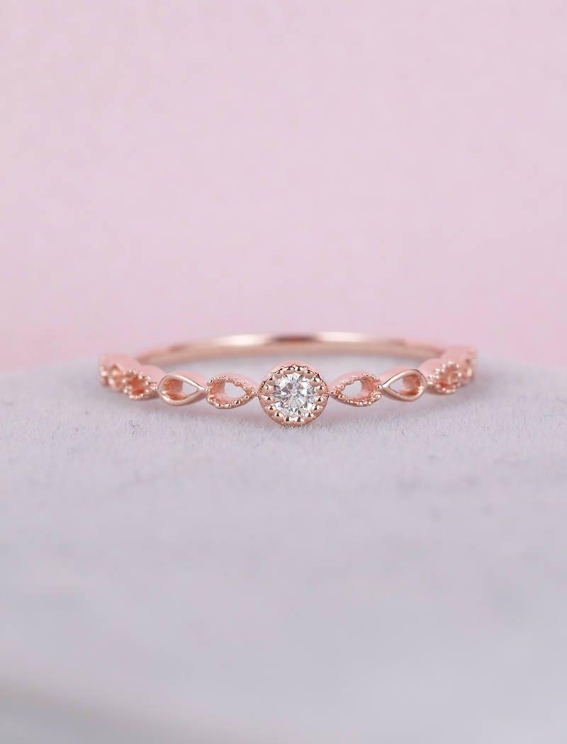 Rose Gold Engagement Ring vintage Art Deco engagement ring