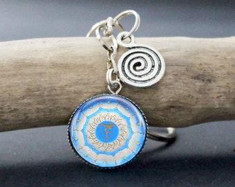 Throat Chakra Keychain, Blue Chakra Keyring jewelry, Glass Cabochon, Original Drawing,  Throat Chakra Mandala