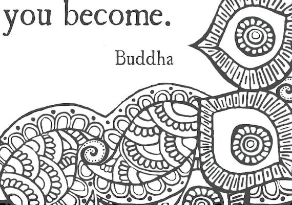 Erwachsenen Färbung Poster mit Buddha-Zitat Was denken