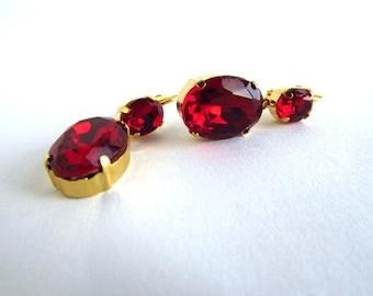 Ruby Rhinestone Earrings, Red Crystal Earrings, Red and Gold Earrings, Ruby Dangle Earrings, Ruby Wedding Earrings, Ruby Bridesmaid Jewelry