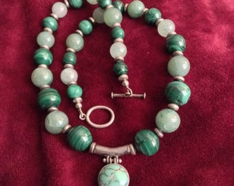 Turquoise and Malachite necklace,Turquoise from Nepal,Malachite from Zaire, sterling pendant, Chinese Jade and Nepali sterling clasp