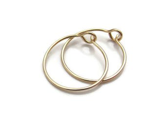 Sale Small Gold Hoop Earrings or Silver Hoops, One Pair, Half Inch Size