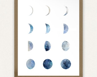 8x10 - Moon Phases (Blue) Printable Art