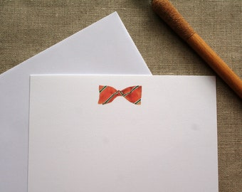 Flat note cards, Note cards, All occasion flat note cards, Watercolor note cards, bow tie note cards, Correspondence, Stationery