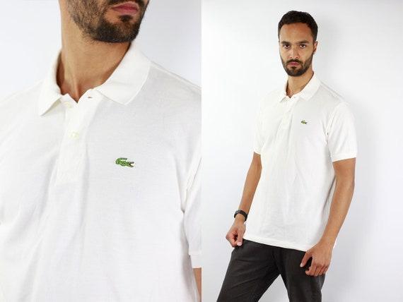 LACOSTE Polo Shirt Lacoste Polo-Shirt Lacoste White Poloshirt Lacoste Vintage T Shirt Lacoste  T-Shirt White  Lacoste Shirt Large Poloshirt