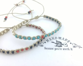 Thin Couples Beaded Bracelet Hemp  Handmade, Bracelet, Hemp Bracelet, Beach  Bracelet, Hemp Jewelry, Summer  Bracelet, Boho Bracelet.