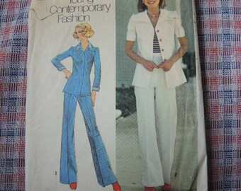 vintage 1970s Simplicity sewing pattern 6892 misses shirt jacket and pants size 10
