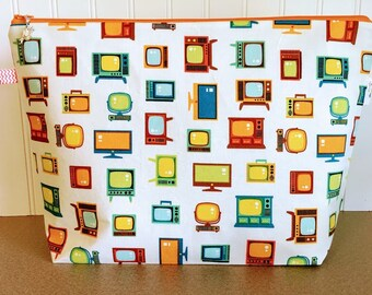 Vintage TV Knitting Project Bag - Large / Sweater Size