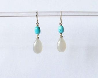 Dangling  Turquoise Moonstone tear drop gold summer earrings jewelry statement boho dangling earrings for her bridesmaid gift for mom