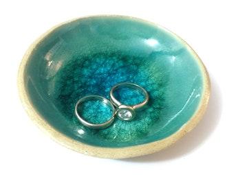 Ring Holder, Ring Holder Dish, Ring Dish, Turquoise Ceramics, Ceramic Bowl, Engagement Gift - Mediterranean Sea Dreams Collection