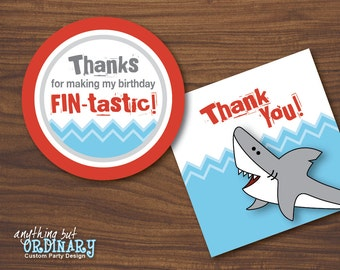 Shark Bite Thank You Tags, DIY Circle Labels, INSTANT DOWNLOAD, digital printable file