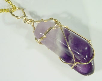 14 kt Gold Filled Wire Wrapped Natural Chevron Amethyst Dogtooth Pendant 5254D