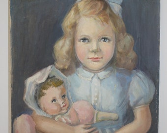 REDUCED!  Original Oil Painting A Girl With Her Doll