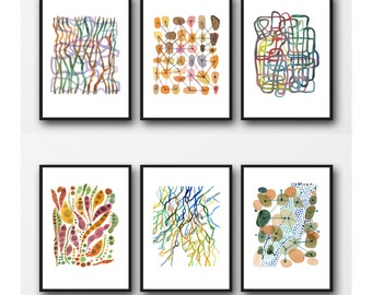 Colorful Abstract Art, Home Decor, Set of 6 Prints, Abstract Watercolor Paintings, Abstract Art Prints, Watercolor Prints