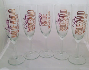 Set of 5 champagne glasses. Please include personalization details in the comments when you order