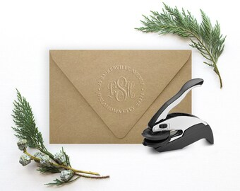 Monogram Embosser, Address Embosser, Custom Embosser, Wedding Invitation, Housewarming Gift, Embosser Seal, Return Address, Embossed