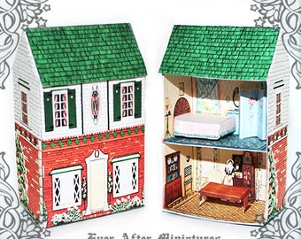 VINTAGE Dollhouse Miniature Kit #1 – DIY Craft Printable Miniature Doll House that goes into a Dollhouse – Miniature House for Doll DOWNLOAD