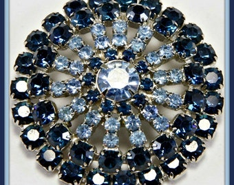 RESERVED!!! Vintage Rhinestone Pin,Vintage Blue Rhinestone Brooch,Vintage Blue Rhinestone Pin,Vintage Domed Rhinestone Brooch