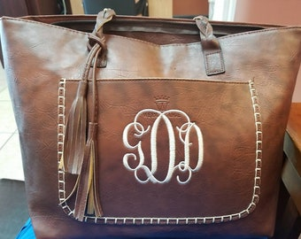 Monogram leather purse, Tassel tote, braided handle handbag, tassel leather tote, Monogram Purse, leather tote, brown leather, braided tote