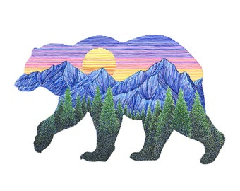 Sunset Bear 6x8 Archival Print - Colorful Mountain Art Grizzly Bear Giclee - Outdoors Nature Landscape Illustration