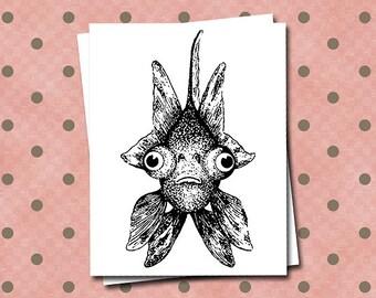 Goldfish Note Card Pet Googly Eyes Swimming Ocean Sea Beach Humor Funny Fish Bowl  Black White Blank Novelty Oddity Notecard Greeting Card
