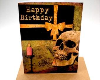 Goth Birthday Card, Skull Card, Birthday Card, Blank Card, Handmade Card, Card with Envelope