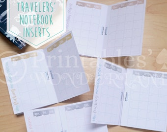 Micro size TN monthly inserts printable - Travelers' notebook inserts instant download - Month on two pages inserts micro - Metalic TN